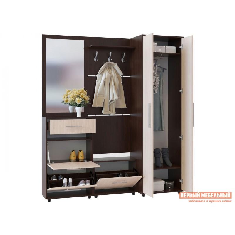 Распашной шкаф  ШО-1 Корпус Венге / Фасад Беленый дуб (фото 4)