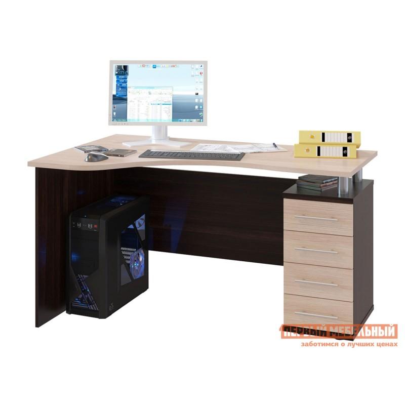 Письменный стол  КСТ-104.1 Корпус Венге / Фасад Беленый дуб, Правый