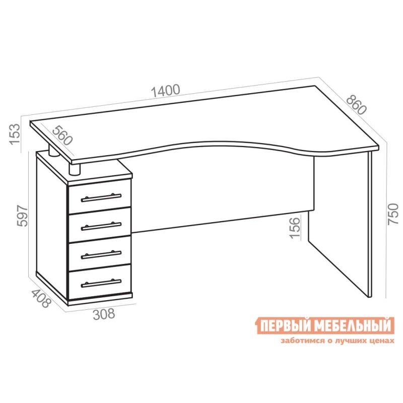 Письменный стол  КСТ-104.1 Корпус Венге / Фасад Беленый дуб, Правый (фото 4)