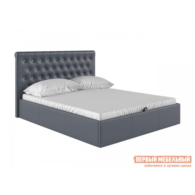 Двуспальная кровать  Кровать с подъемным механизмом Женева Серый, экокожа, 1800 Х 2000 мм