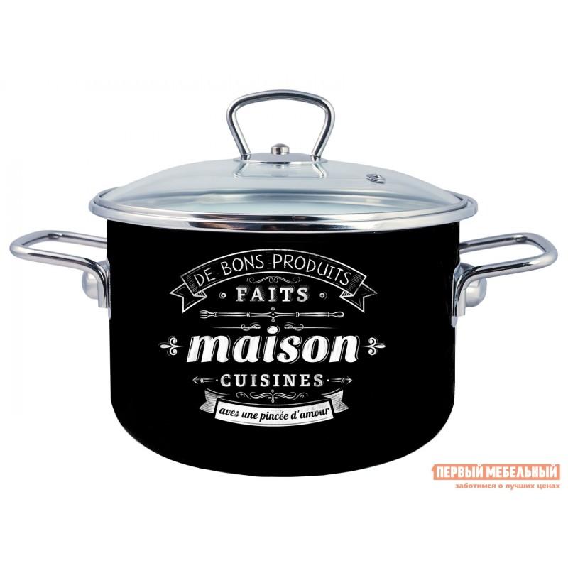 Кастрюля  Кастрюля эмал цил Maison 4,0л TM Appetite Черный, эмаль