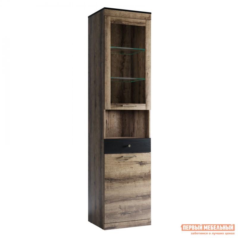 Шкаф-витрина  Шкаф Джагер 8 Дуб монастырский / Черный, Без подсветки