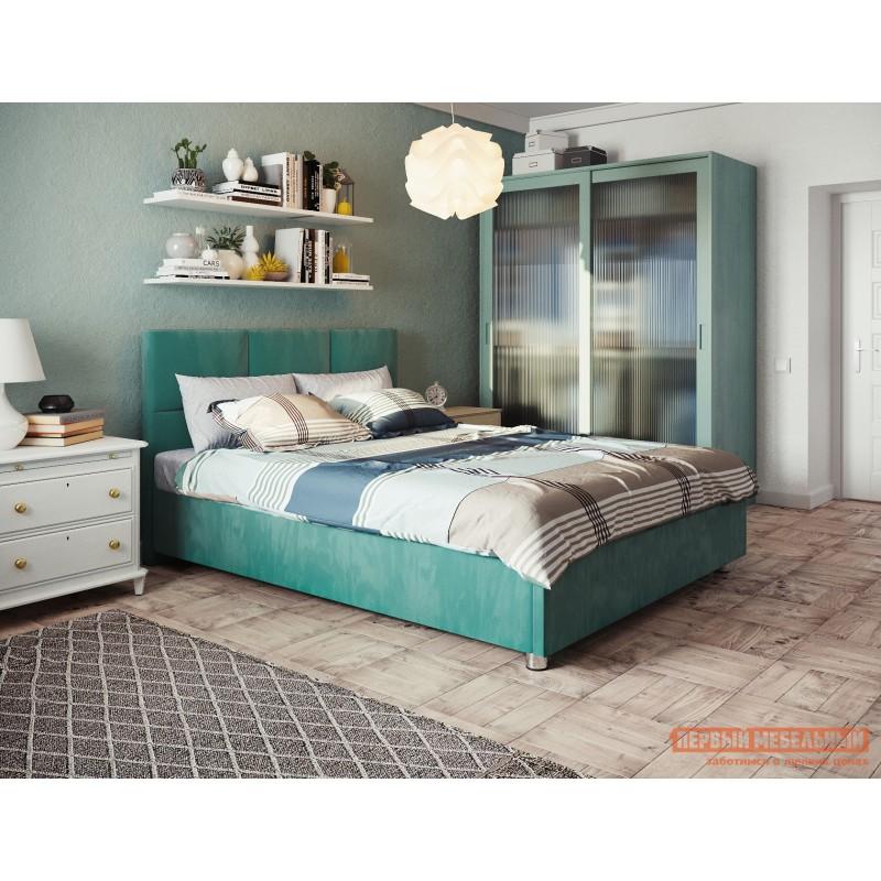 Двуспальная кровать  Кровать с мягким изголовьем Агата Мятный, велюр, 180х200 см (фото 3)