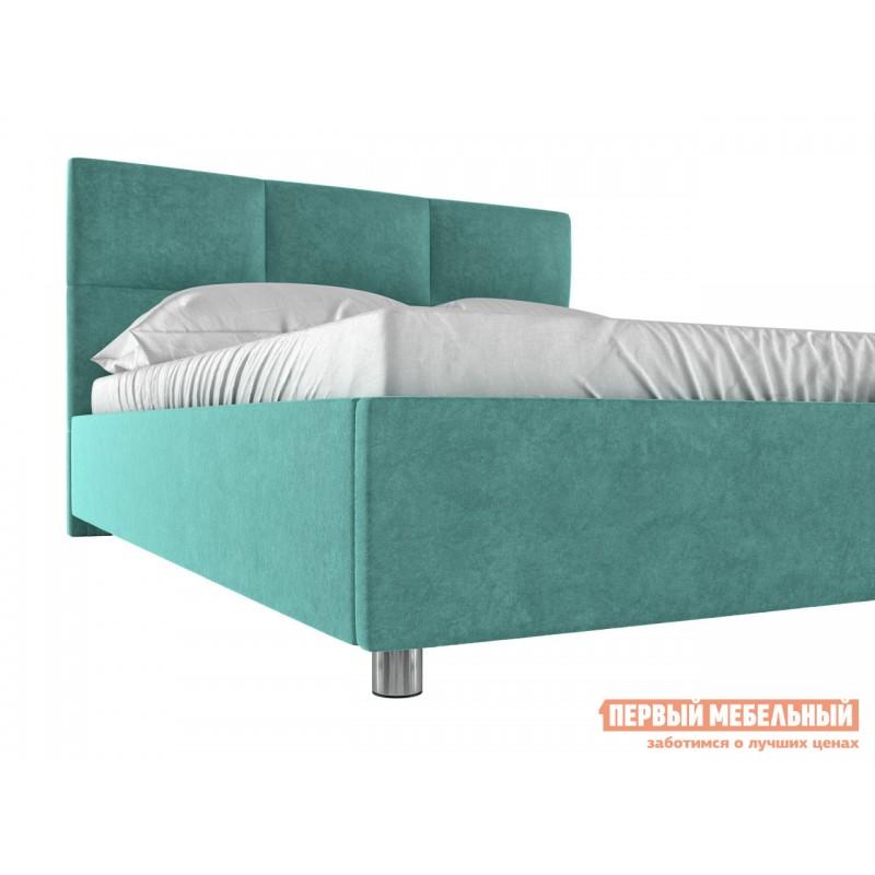Двуспальная кровать  Кровать с мягким изголовьем Агата Мятный, велюр, 180х200 см (фото 5)
