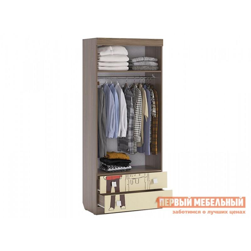 Детский шкаф  Челси Шкаф комбинированный (с ящ. 2-створчатый) Ясень Шимо темный / Крем (фото 3)