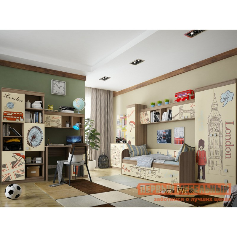 Детский шкаф  Челси Шкаф комбинированный (с ящ. 2-створчатый) Ясень Шимо темный / Крем (фото 5)