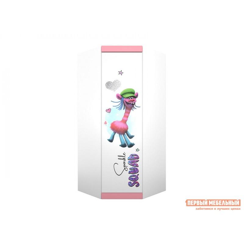 Детский шкаф  Шкаф угловой Polini kids Fun 1250 Тролли (0001934.74) Белый / Роза