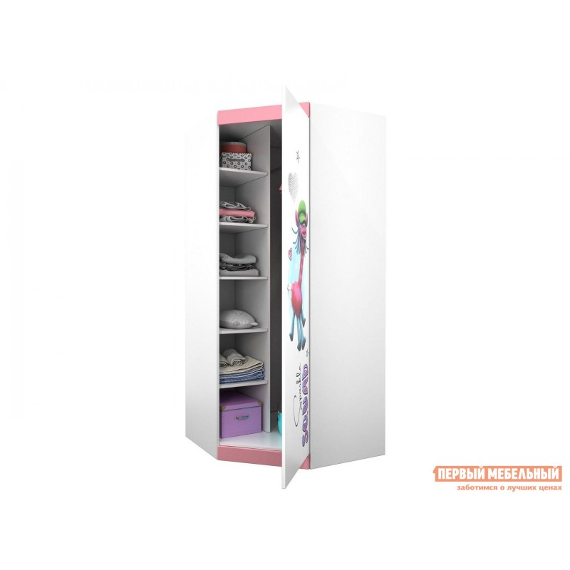 Детский шкаф  Шкаф угловой Polini kids Fun 1250 Тролли (0001934.74) Белый / Роза (фото 2)