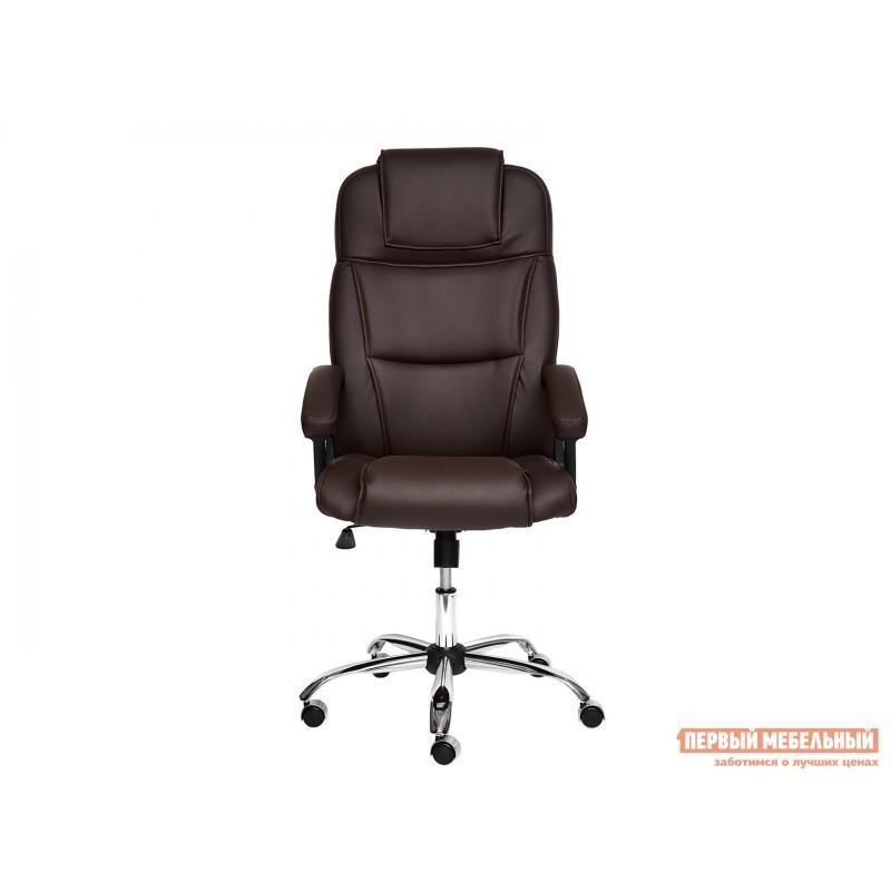 Кресло руководителя  BERGAMO CHROME Иск.кожа коричневая PU 36-36 (фото 2)