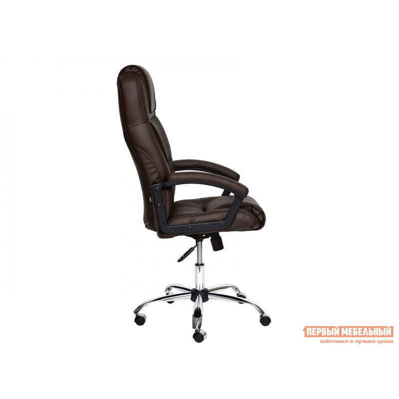 Кресло руководителя  BERGAMO CHROME Иск.кожа коричневая PU 36-36 (фото 3)