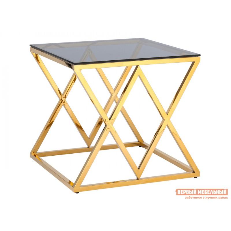 Журнальный столик  Инсигния EET-026 Темное стекло / Сталь, золото