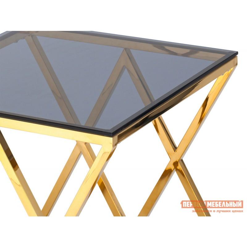Журнальный столик  Инсигния EET-026 Темное стекло / Сталь, золото (фото 3)