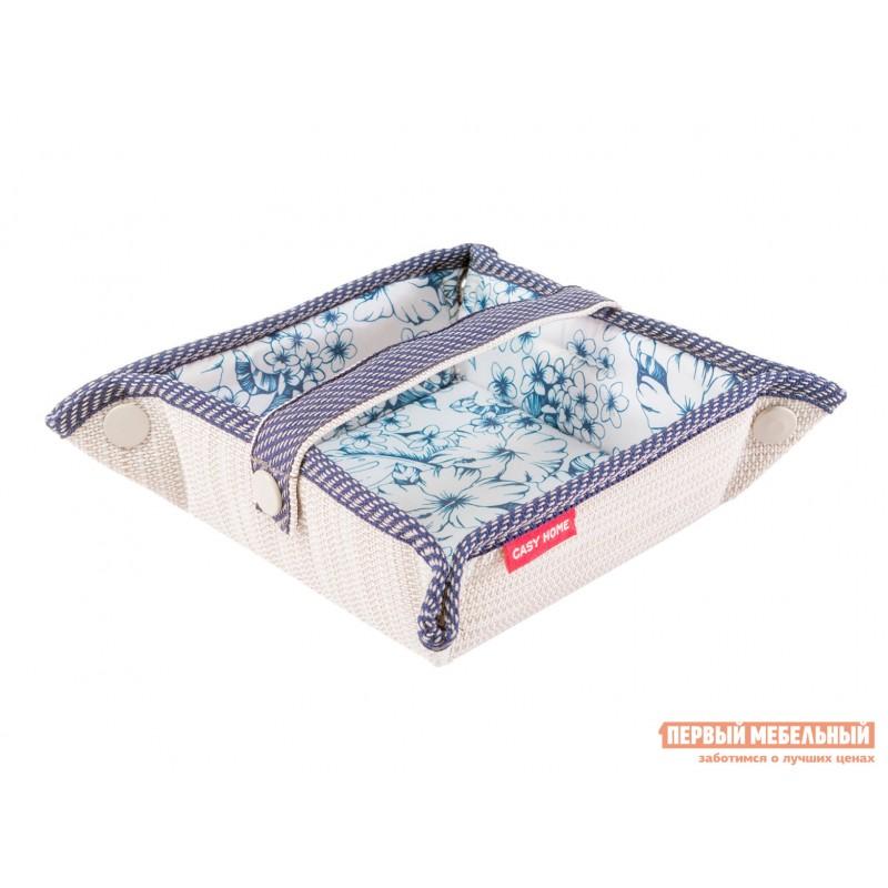 Аксессуар для сервировки и хранения  Салфетница 13х13х6см Бежевый, текстилен / Синий, цветы