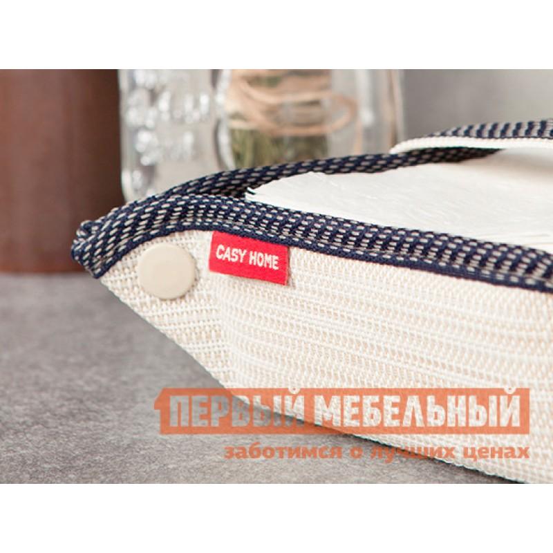 Аксессуар для сервировки и хранения  Салфетница 13х13х6см Бежевый, текстилен / Синий, цветы (фото 3)