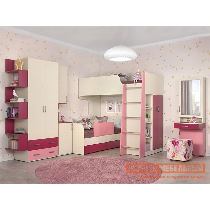 Шкаф детский  Шкаф со вставкой Дарина АРТ. УШ02 Песок / Розовый (фото 4)