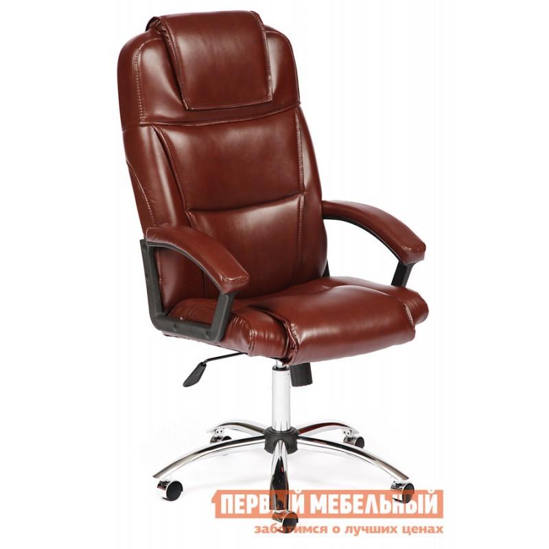 Кресло руководителя  BERGAMO CHROME Иск. кожа коричневая 2 TONE
