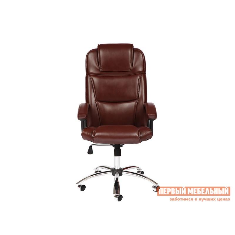 Кресло руководителя  BERGAMO CHROME Иск. кожа коричневая 2 TONE (фото 2)