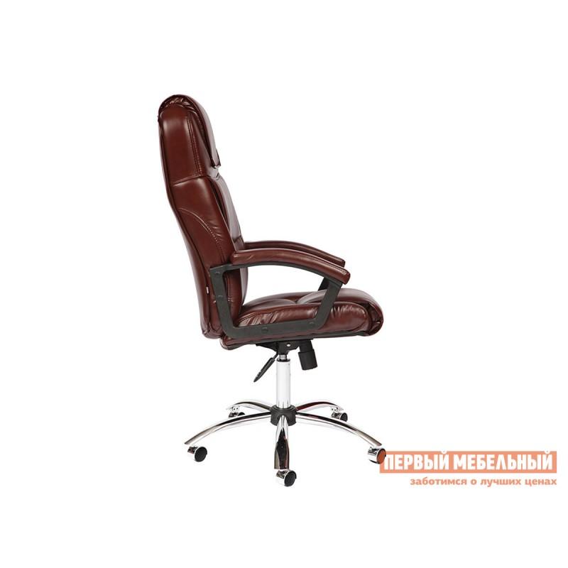 Кресло руководителя  BERGAMO CHROME Иск. кожа коричневая 2 TONE (фото 3)