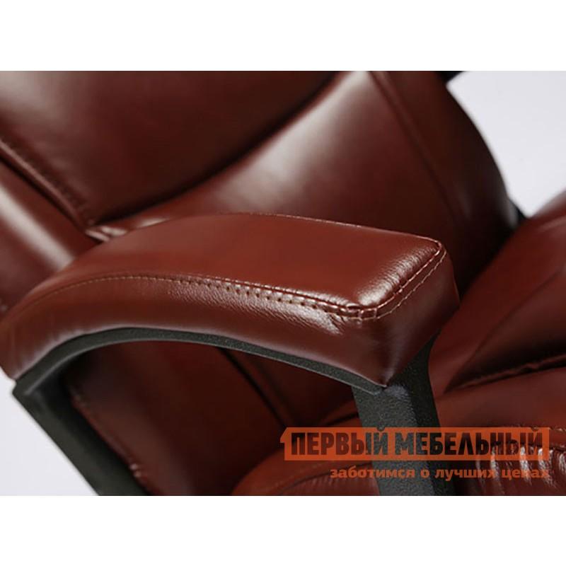 Кресло руководителя  BERGAMO CHROME Коричневый, иск.кожа (фото 5)
