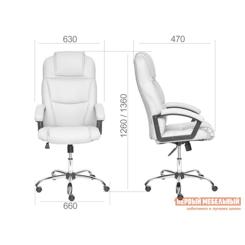 Кресло руководителя  BERGAMO CHROME Коричневый, иск.кожа (фото 6)