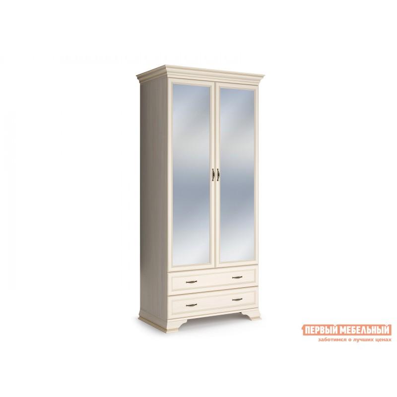 Распашной шкаф  Шкаф 2-х дверный Сиена Бодега белый, патина золото, С двумя зеркалами