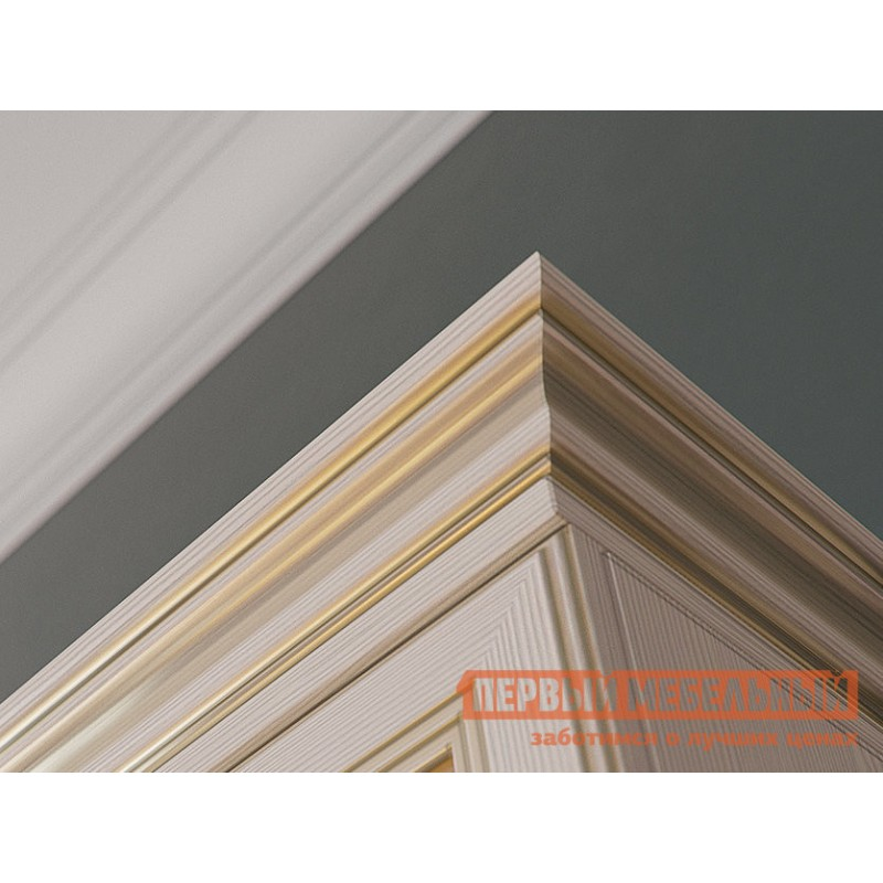 Распашной шкаф  Шкаф 2-х дверный Сиена Бодега белый, патина золото, С двумя зеркалами (фото 5)
