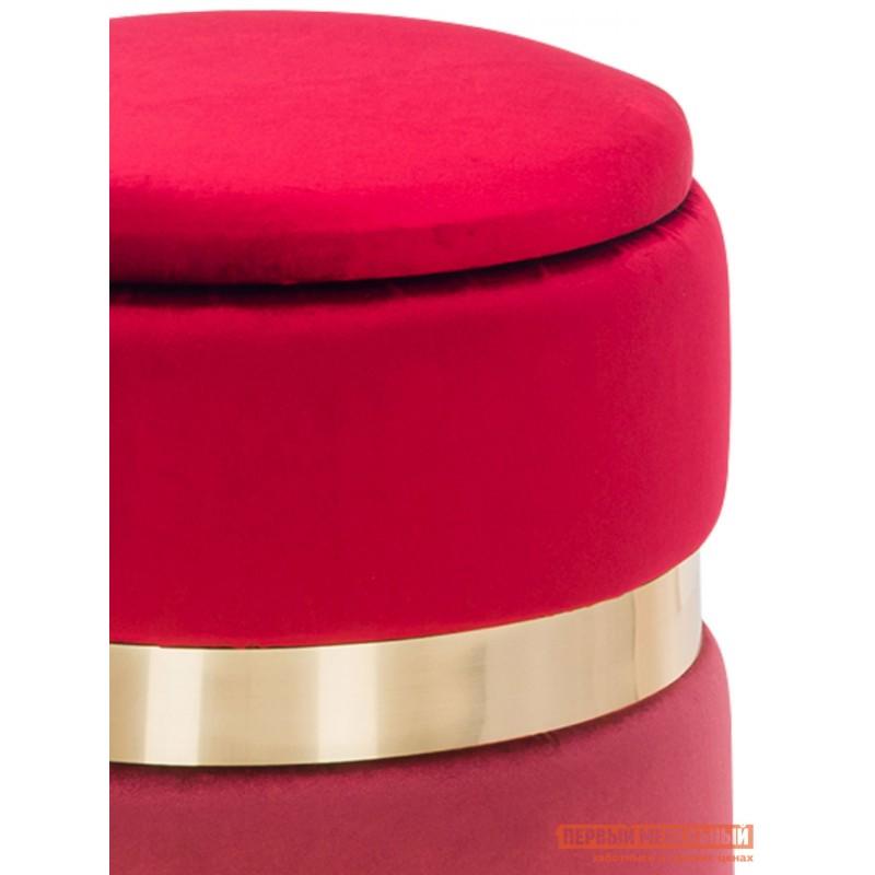 Пуфик  Пуф Leset Голди Красный, бордовый, велюр / Латунь (фото 3)