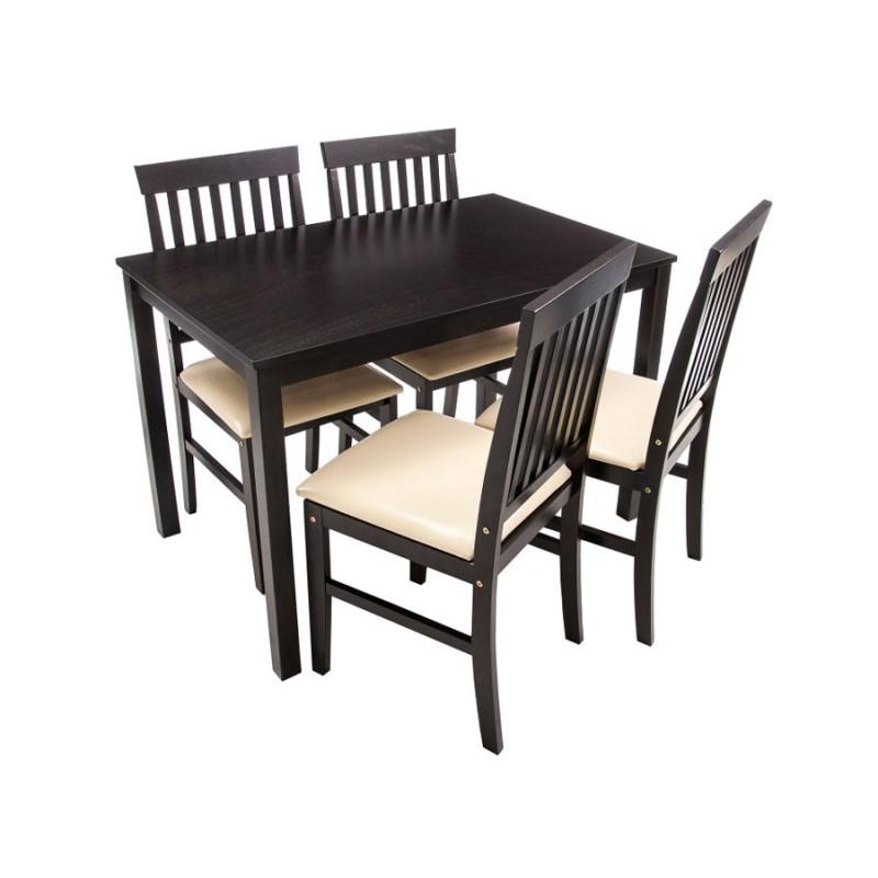 Обеденная группа для столовой и гостиной  Обеденная группа Luar (стол и 4 стула) Бежевый, кожзам / Капучино