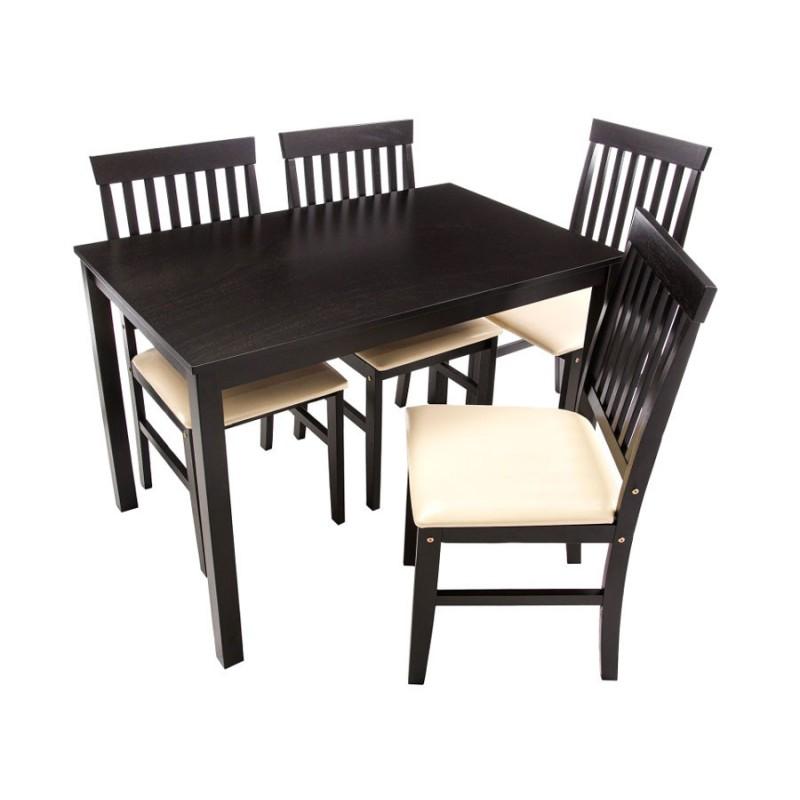 Обеденная группа для столовой и гостиной  Обеденная группа Luar (стол и 4 стула) Бежевый, кожзам / Капучино (фото 2)