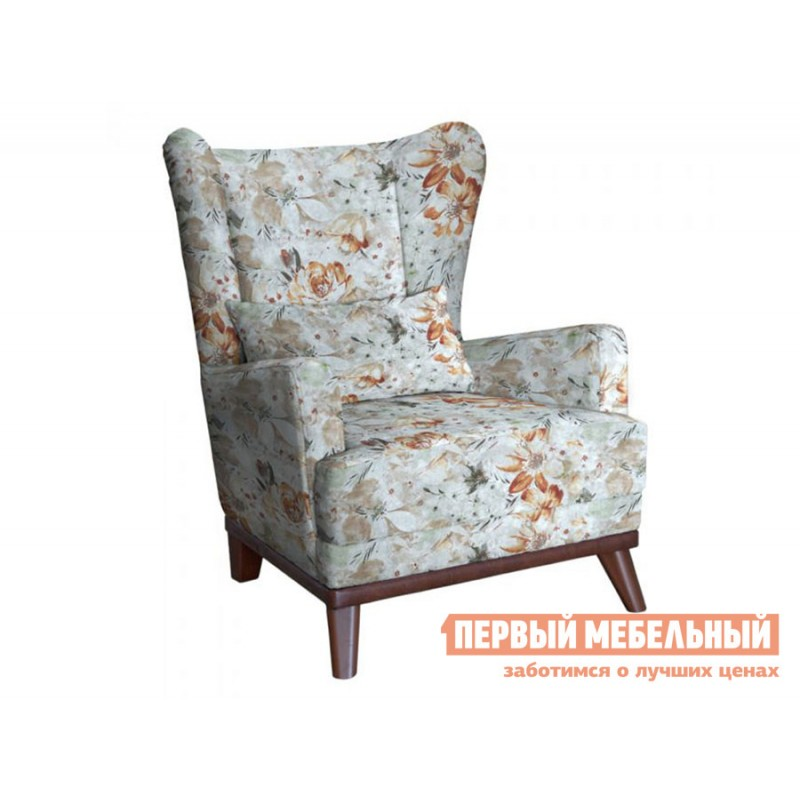 Кресло  Оскар Коричневые цветы, велюр