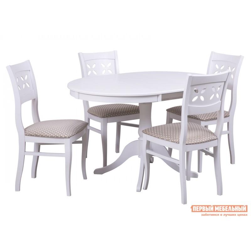 Обеденная группа для столовой и гостиной  Стол Амадей + 4 стула Лион Белый матовый