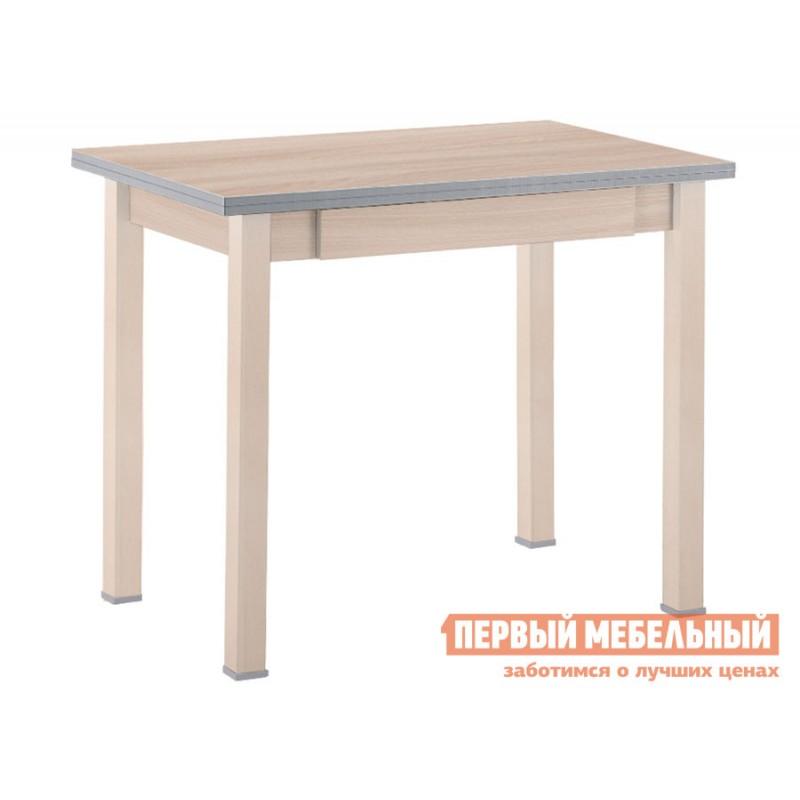 Кухонный стол  Стол обеденный раскладной прямая ножка с ящиком Выбеленная береза (массив) / Шимо светлый (ЛДСП)