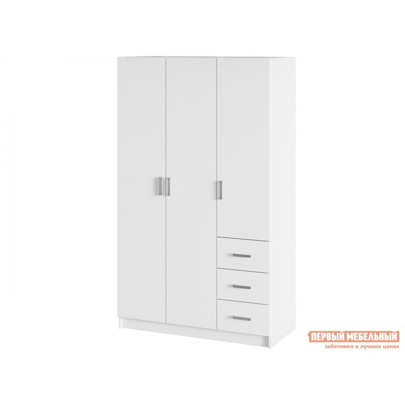 Распашной шкаф  Лофт шкаф  3-х дв. с ящиками Белый