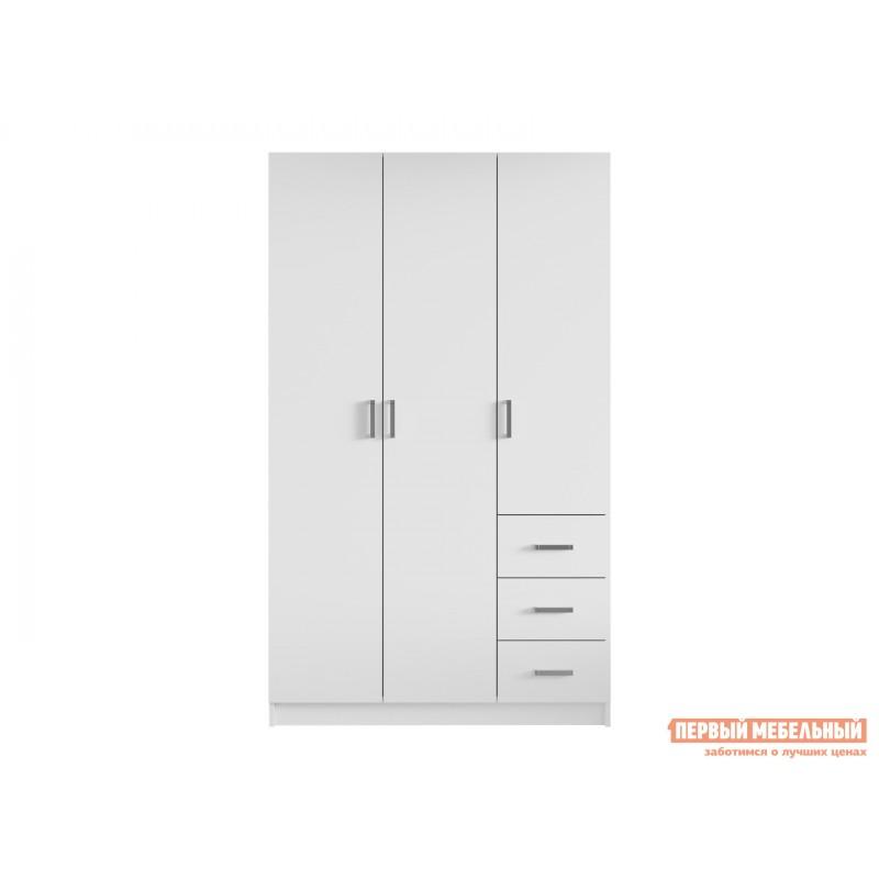 Распашной шкаф  Лофт шкаф  3-х дв. с ящиками Белый (фото 3)