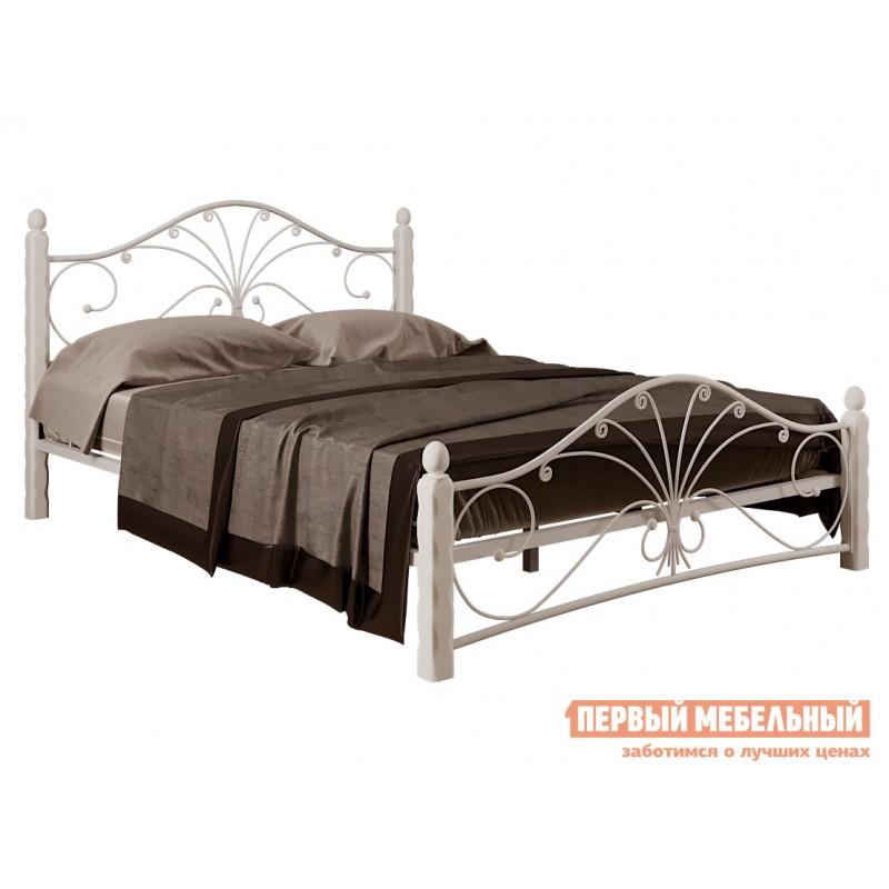 Двуспальная кровать  Кровать Сандра Кремовый металл, каркас / Белый массив, опоры, 1600 Х 2000 мм