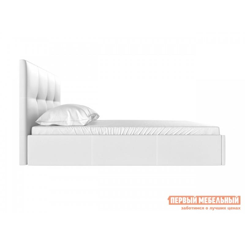 Двуспальная кровать  Верда Белый, экокожа , 160х200 см (фото 3)