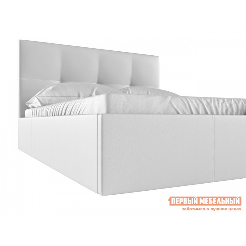 Двуспальная кровать  Верда Белый, экокожа , 160х200 см (фото 4)