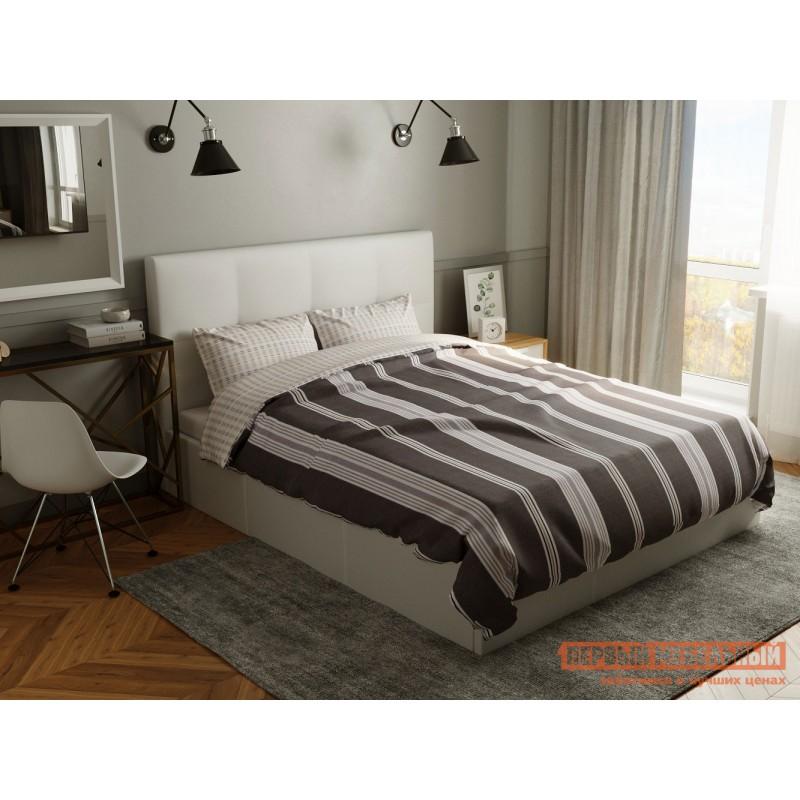 Двуспальная кровать  Верда Белый, экокожа , 160х200 см (фото 6)