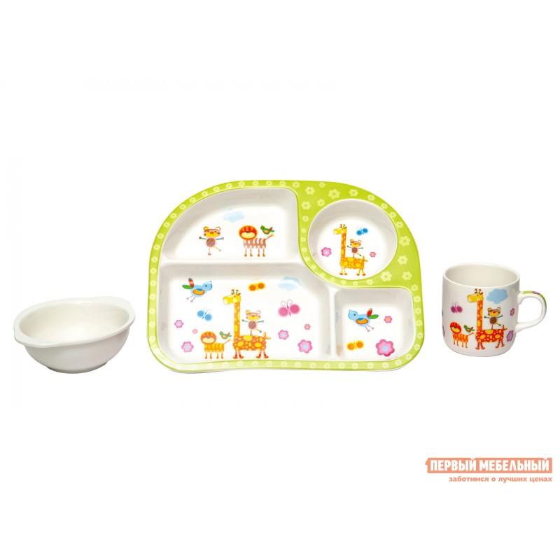 Набор детской посуды  Зоопарк Белый, фарфор