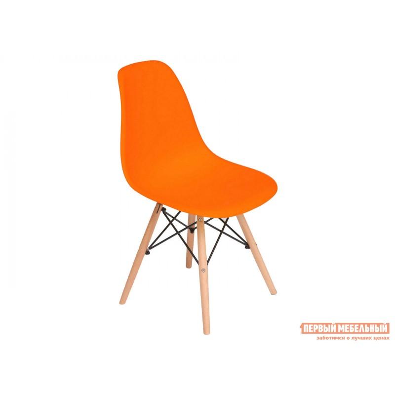 Стул  Eames Wood CC Оранжевый, пластик / Натуральный / Черный