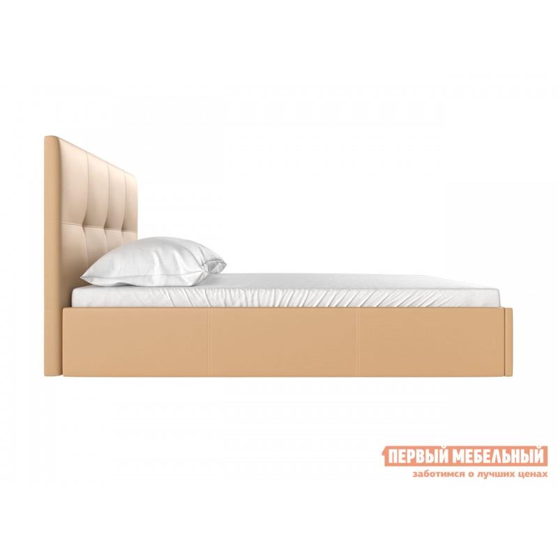 Двуспальная кровать  Верда Бежевый, экокожа, 160х200 см (фото 3)
