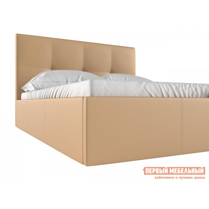 Двуспальная кровать  Верда Бежевый, экокожа, 160х200 см (фото 4)