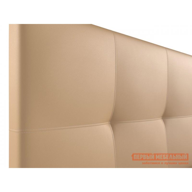Двуспальная кровать  Верда Бежевый, экокожа, 160х200 см (фото 5)