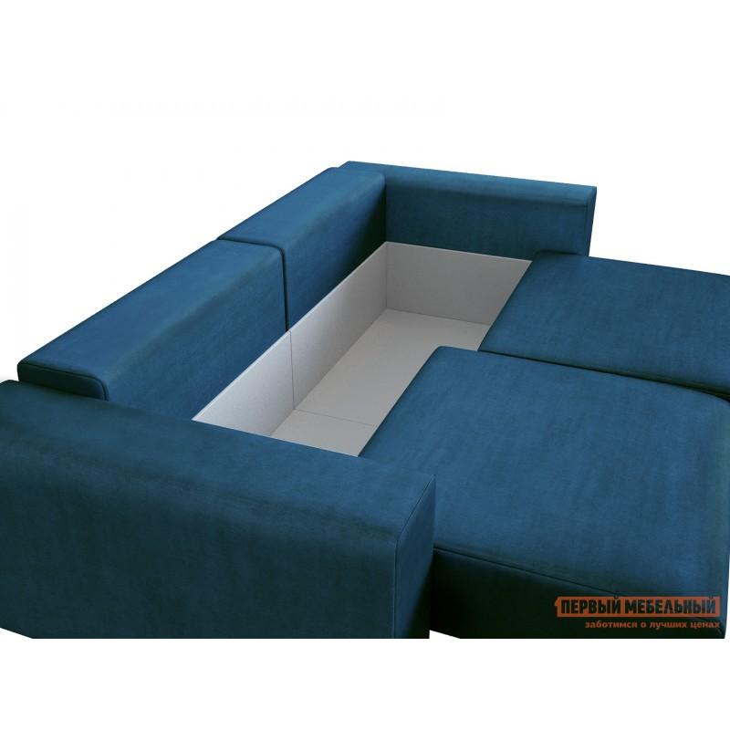 Прямой диван  Диван Берн Люкс Синий, велюр (фото 8)