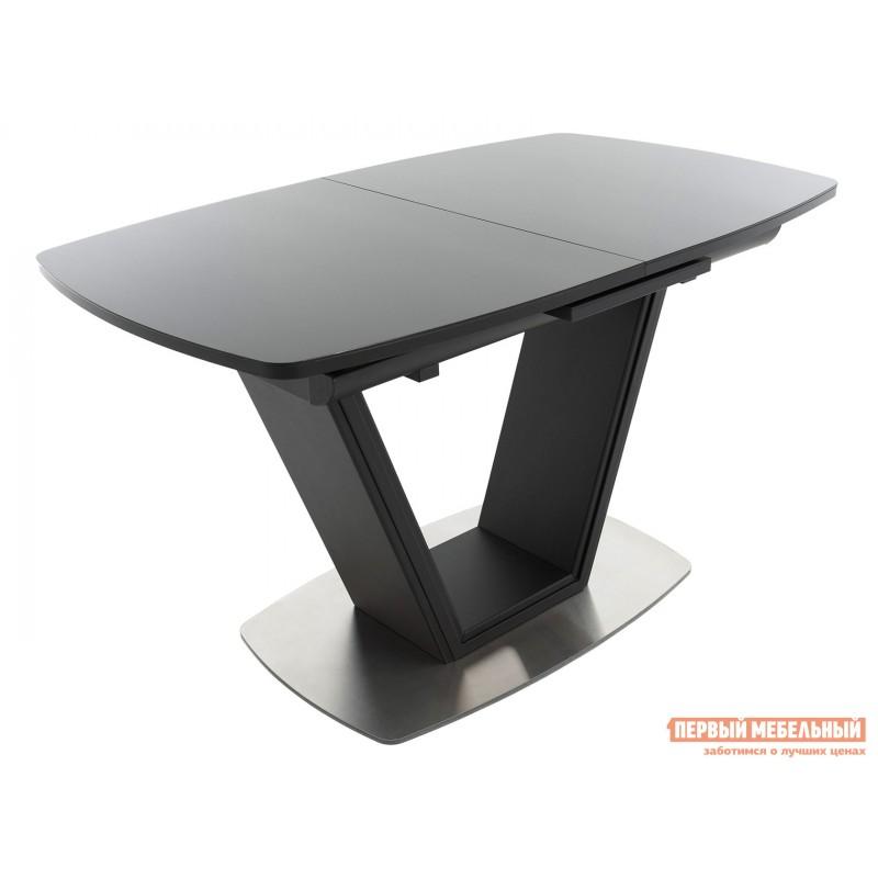Кухонный стол  Стол Севилья ПМ стекло OPTIWHITE 1300(1515)*800 Каркас черный матовый муар / Стекло черное / Черный глянцевый шагрень, пленка ПВХ