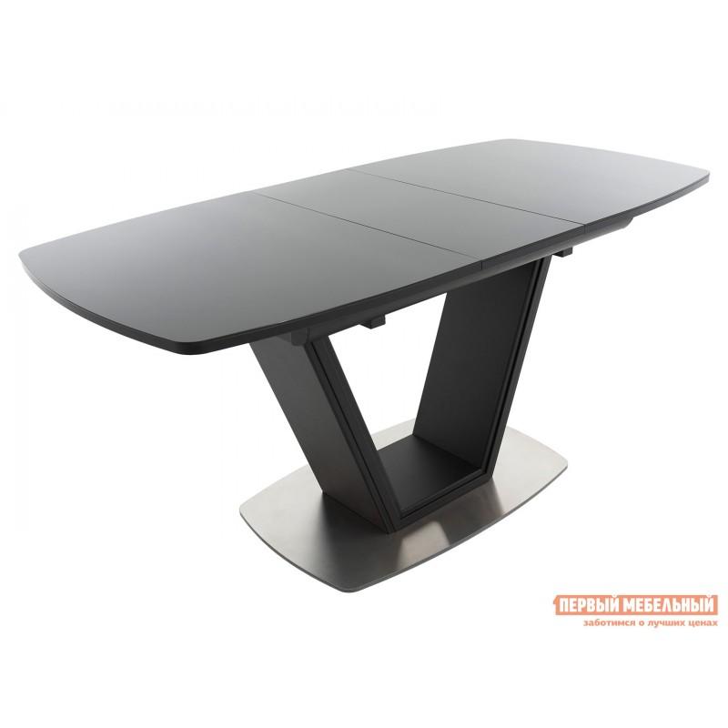 Кухонный стол  Стол Севилья ПМ стекло OPTIWHITE 1300(1515)*800 Каркас черный матовый муар / Стекло черное / Черный глянцевый шагрень, пленка ПВХ (фото 2)