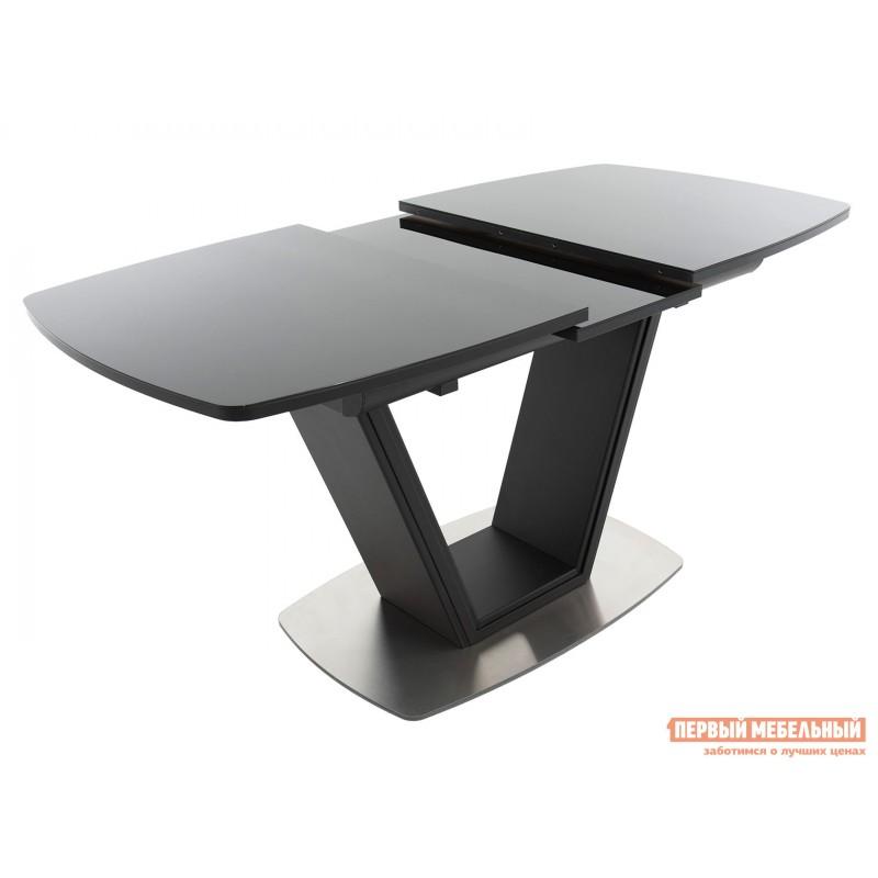 Кухонный стол  Стол Севилья ПМ стекло OPTIWHITE 1300(1515)*800 Каркас черный матовый муар / Стекло черное / Черный глянцевый шагрень, пленка ПВХ (фото 3)