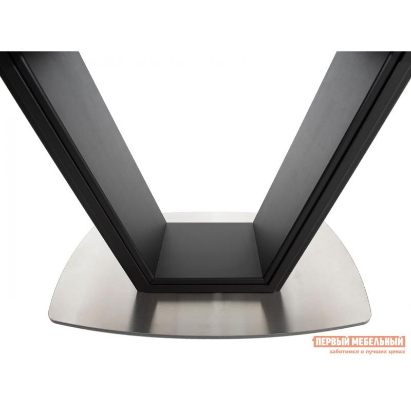 Кухонный стол  Стол Севилья ПМ стекло OPTIWHITE 1300(1515)*800 Каркас черный матовый муар / Стекло черное / Черный глянцевый шагрень, пленка ПВХ (фото 4)