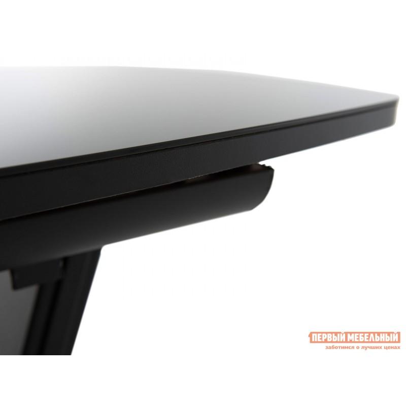 Кухонный стол  Стол Севилья ПМ стекло OPTIWHITE 1300(1515)*800 Каркас черный матовый муар / Стекло черное / Черный глянцевый шагрень, пленка ПВХ (фото 5)