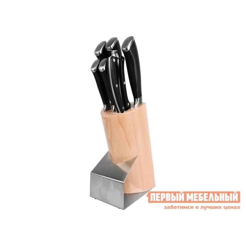 Нож  MR-1421 Набор ножей Maestro( 7пр.пласт.руч.) Черный / Светлое дерево (фото 2)